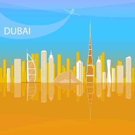 아랍 에미리트 연방의 가장 중요한 상업 및 금융 센터. 도시 풍경 두바이의 호텔. 일러스트