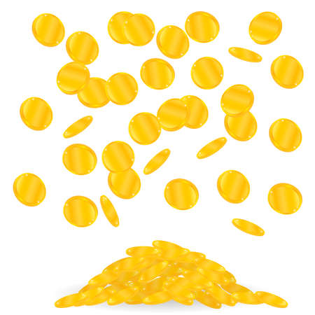 gold coins fall. Many of falling coins Illustration