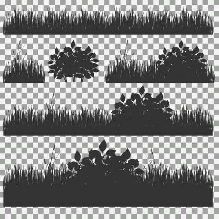 hedge trees: Set of grass vector illustration. Green grass and bushes Illustration