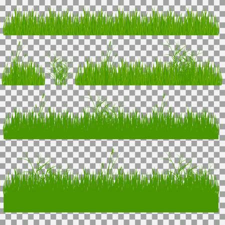 Set of grass vector illustration. Green grass and bushes Illustration