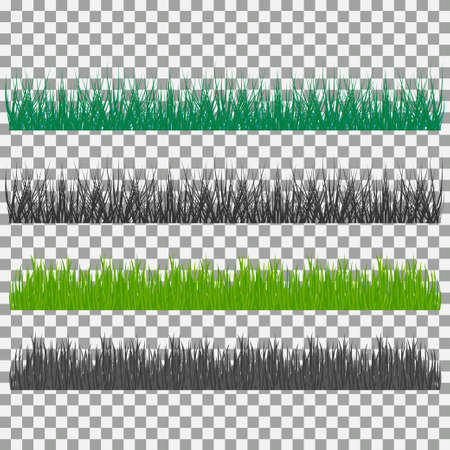 uncultivated: Set of grass vector illustration. Green grass and bushes Illustration