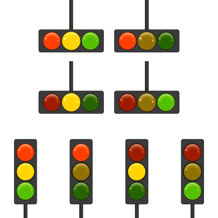 drawing traffic light signals and mechanisms. Illustration