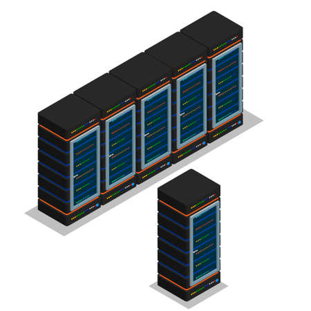 vector illustration, icon, data center, rack computer server farm Illustration