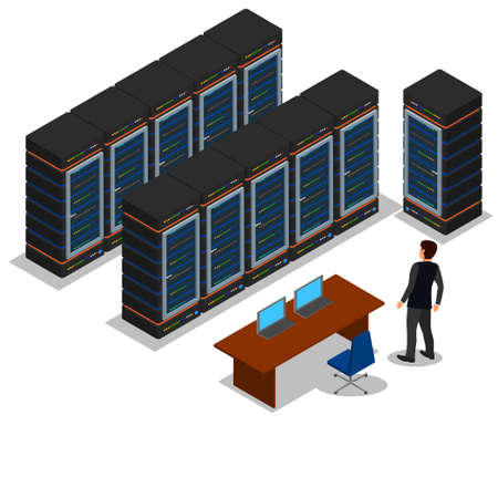 server farm: vector illustration, icon, data center, rack computer server farm Illustration