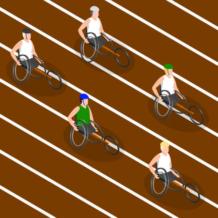 The disabled athletes. Isometric 3d image. Vector illustration