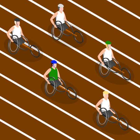 Les athlètes handicapés. Isométrique 3D image. Vector illustration