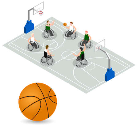 floodlit: vector isometric. Concept for paralympics games and sport. Illustration