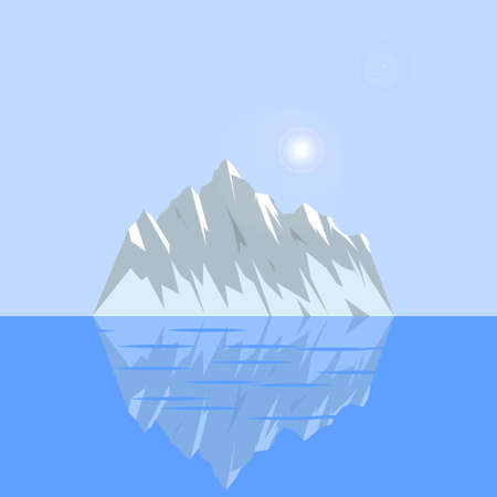 tip of iceberg: Natural Ice with reflection on a blue background among the water.
