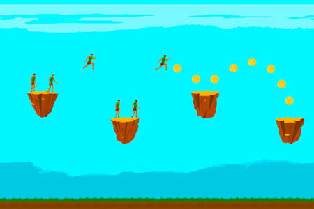 to collect: Man runs and collect gold coins. Vector illustration.