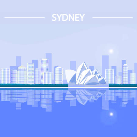 Houses built in the metropolis, located on the ocean. City of Sydney. Illustration
