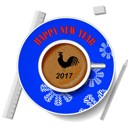 cup of coffee, top view. Christmas theme