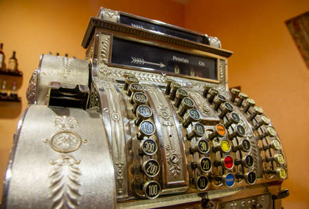 Old cash register of the last century with many buttons Stockfoto