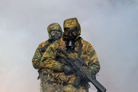 Soldiers on the battlefield with nuclear radiation anti-radiation equipment Stok Fotoğraf