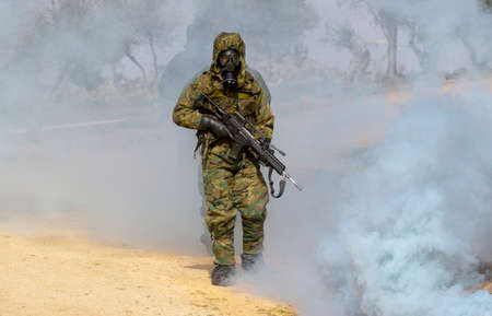Soldiers on the battlefield with nuclear radiation anti-radiation equipment