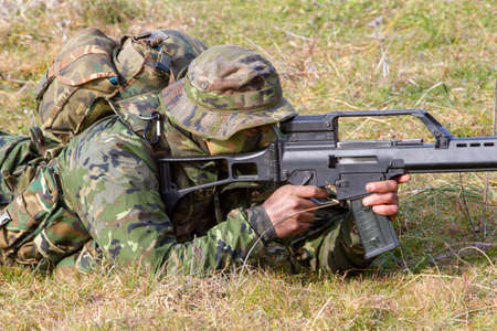 Ground Army Soldier Prepared to Shoot