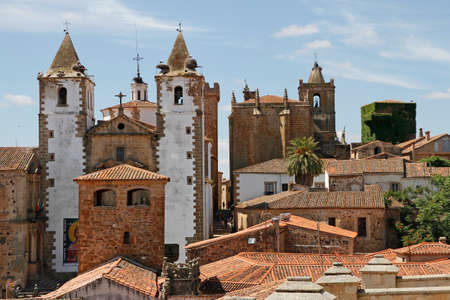 view from the rooftops of the monumental part of Cáceres Stock Photo