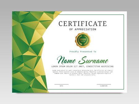 Zertifikatvorlage vergibt Diplomhintergrundvektor modernes Design einfach elegant und luxuriös elegant. Layout horizontal im A4-Format