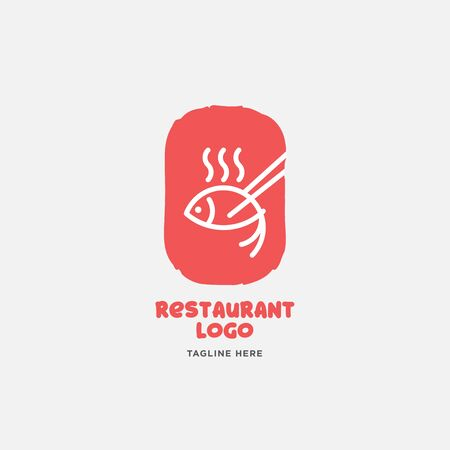 Fish and seafood restaurant logo, BBQ Fish and Sushi logo, Fish logo with minimalis style  イラスト・ベクター素材