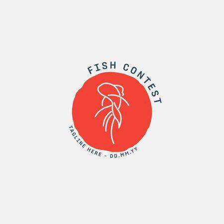 fish logo, fish market logo, fish contest, goldfish contest, seafood label and badge, vector illustration. translation Stock fotó - 150341804