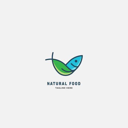 natural fish logo vector illustration, fish market logo, fish guard logo, fish contest, seafood label and badge