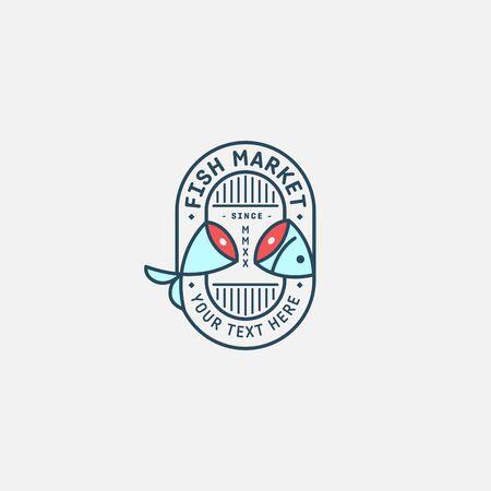 fish logo vector illustration, fish market logo, fish guard logo, fish contest, seafood label and badge Logo