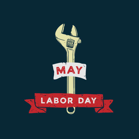 Labor Day design vector square banner with illustration wrench.