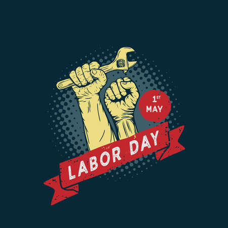 Labor Day design vector square banner with illustration hands holding wrench.