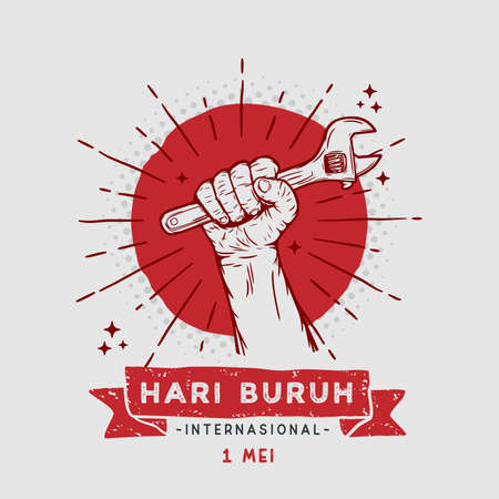 Vector square banner Hari buruh internasional with Illustration hands holding wrench.  translation
