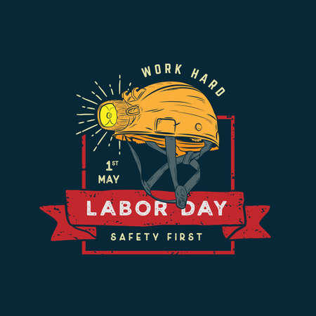 Labor Day design vector square banner with illustration safety helm.