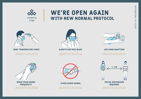 New normal pandemic protocol guide, Coronavirus Outbreak Tips template. Vector illustration