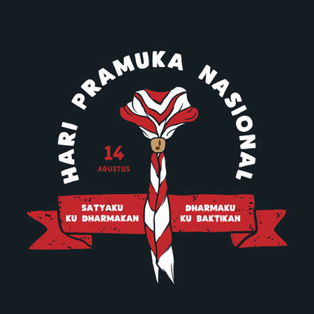 14 Agustus, Hari Pramuka Nasional Indonesia. Translation : 14 August, Indonesian National Scout Day. Vector illustration of red and white scarf