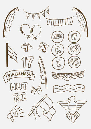Handdraw Happy indonesia independence day doodle set. vector illustration with outline style