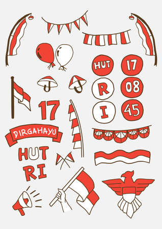 Handdraw Happy indonesia independence day doodle set. vector illustration