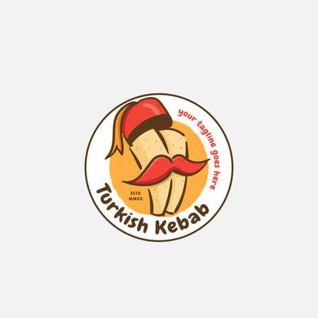 Kebab and shawarma logo design vector template. Vector label Turkish and Arabian fast food.