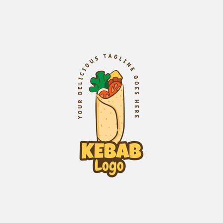 Kebab and shawarma logo design vector template. Vector label Turkish and Arabian fast food. Logo