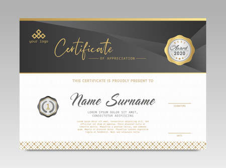 Modern Design Certificate. Black and Gold Certificate template awards diploma background vector modern design simple elegant and luxurious elegant. layout horizontal in A4 size