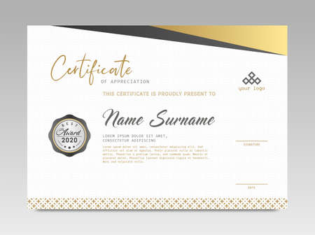 Modern Design Certificate. Black and Gold Certificate template awards diploma background vector modern design simple elegant and luxurious elegant. layout horizontal in A4 size Illusztráció