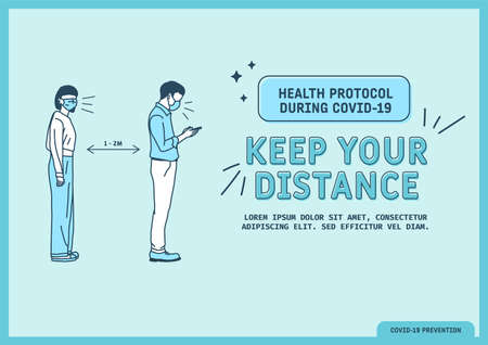 Health protocol guide during covid-19, Coronavirus Outbreak Tips template. Vector illustration
