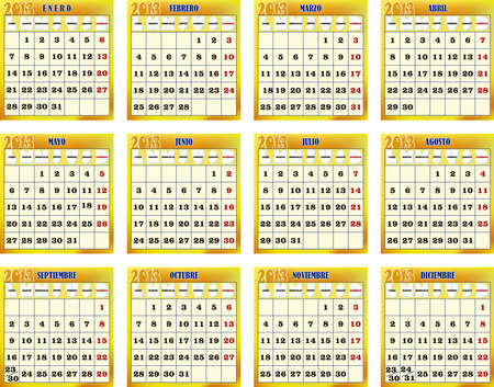 months of the year: Traced image of the twelve months for the year 2013