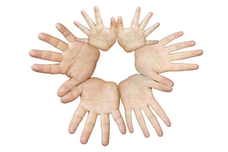 hands of different people with different ages. are the hands of family members