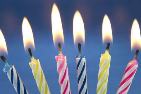 Detail of the birthday fired candles ready to be blown. Stock Photo