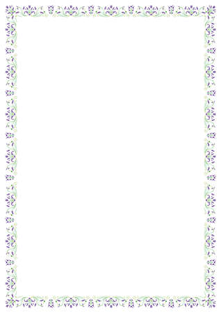 Traced image of a frame consisting of purple flowers and green leaves on a white background.