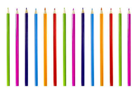 Group of pencils in different bright colors on a white background. Stock Photo