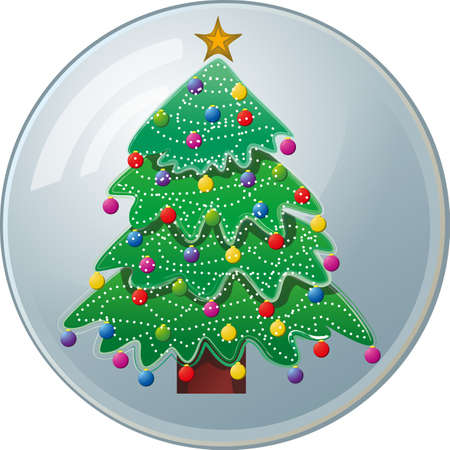 Image of a colorful Christmas tree inside a crystal ball.