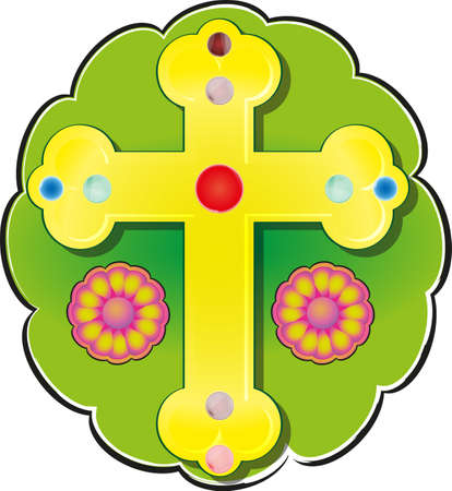Vector image of a religious cross adorned with jewels and surrounded by flowers.