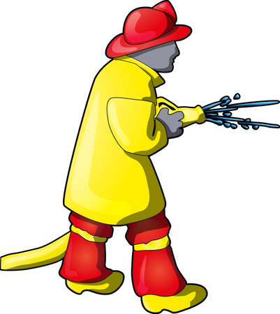 Image of a firefighter using a hose to put out the fire. Vector