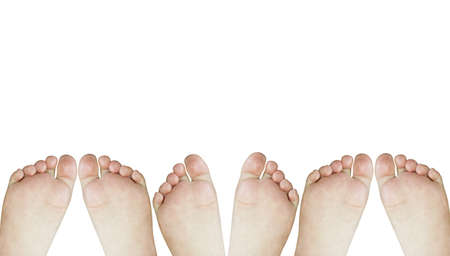 Photograph of the palm of the feet of three children on a white background. They are playing by moving your feet.