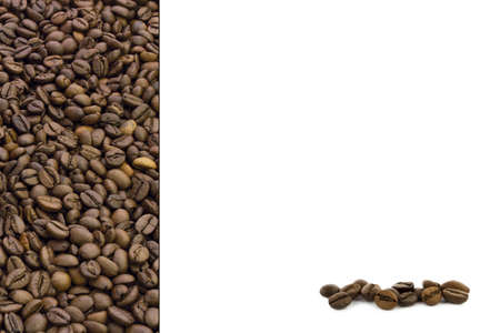 Texture of coffee beans on a white background  Stock Photo