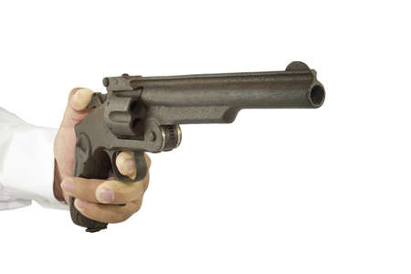 Hand of man shooting a gun on a white background.