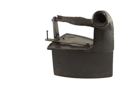 Photography of an old iron on a white background. Stock Photo